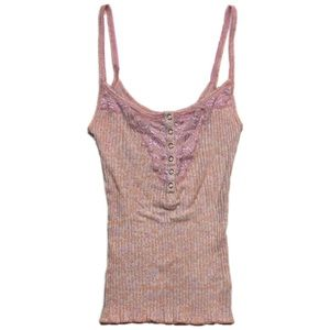 Free People Woman Cami Henley snap front pink lace